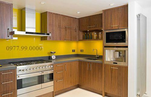 Kính màu ốp bếp cường lực vàng chanh