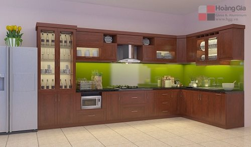Kính ốp bếp màu xanh cốm tại Hoàng Gia
