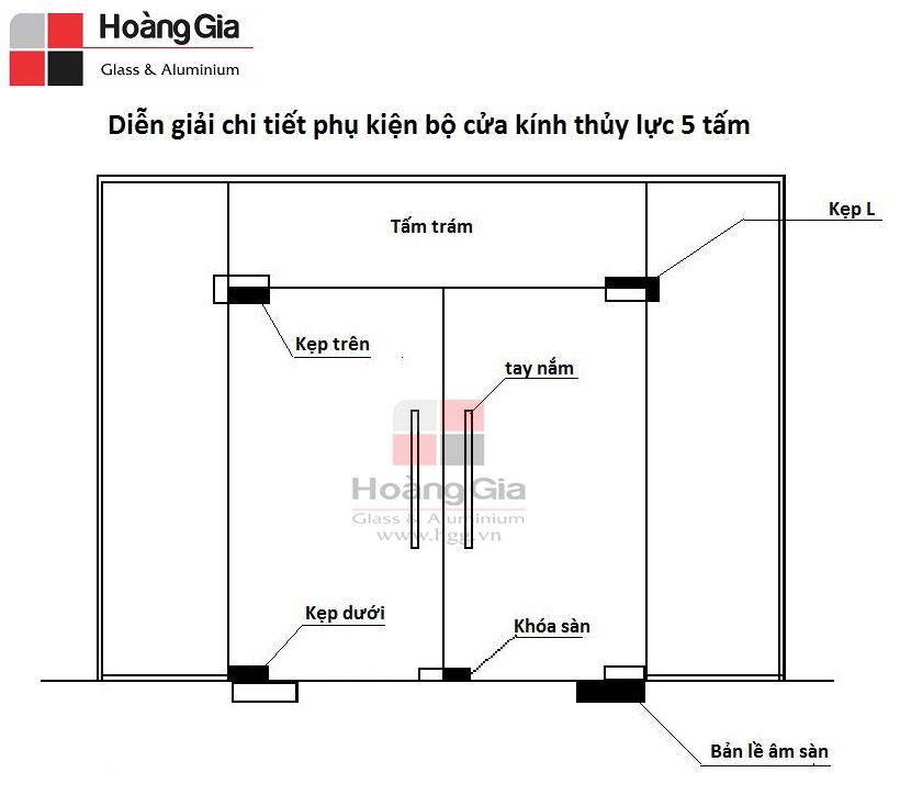 Phụ kiện cửa kính thủy lực 5 tấm - hgg.vn