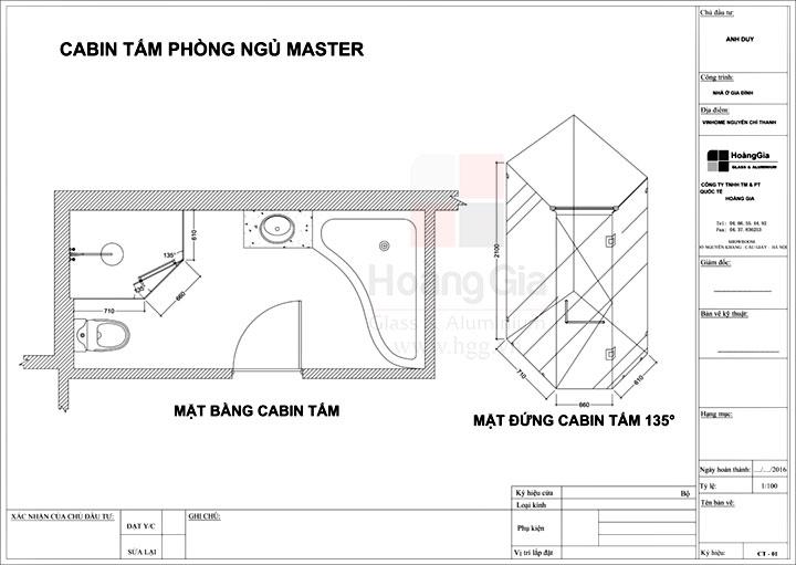 Cabin tắm kính 135 lắp tại Vinhome Nguyễn Chí Thanh