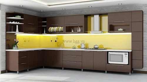 Kính bếp màu vàng chanh mang lại sự ấm cúng cho không gian